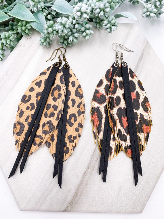 Cheetah Print Leather Feather Earrings, Layered Leather, Layered Feather, Genuine Leather, Leopard Print Leather Earrings