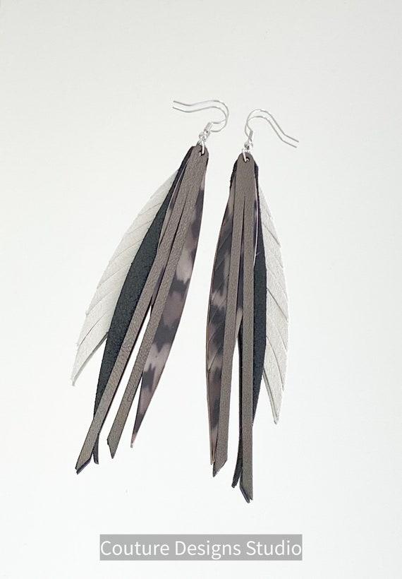 Gray Leopard Leather Feather Earrings - Boho Feather Earrings - Fringed Leather Earrings - Long Leather Feather Earrings