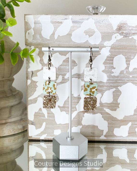 Mint Leopard Print Earrings - Square Earrings, Boho Earrings, Mint and Gold Earrings, Cork Leather Earrings, Gold Glitter Earrings