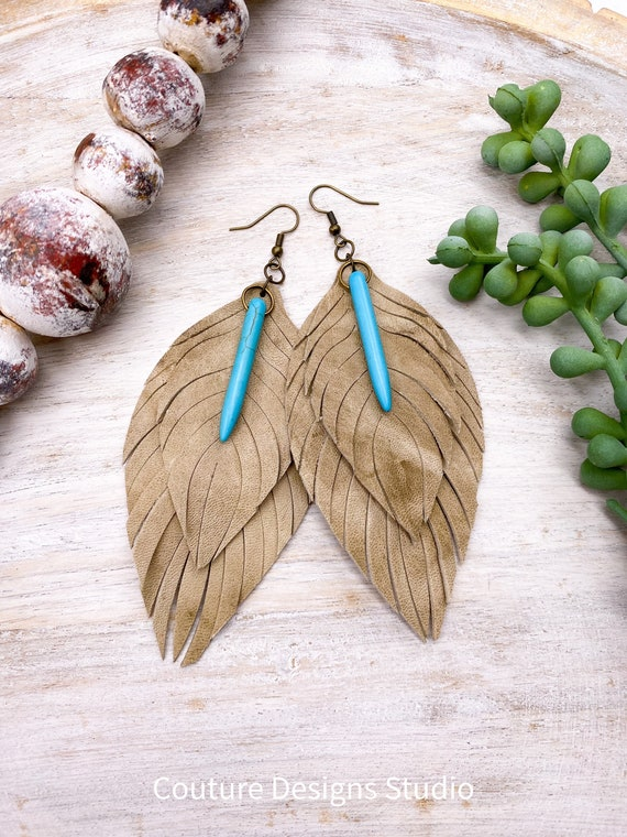 Tan Distressed Leather Feather Earrings - Leather Feather Earrings, Leather Fringe Earrings, Beige Leather Feather Earrings, 4.5 Inches