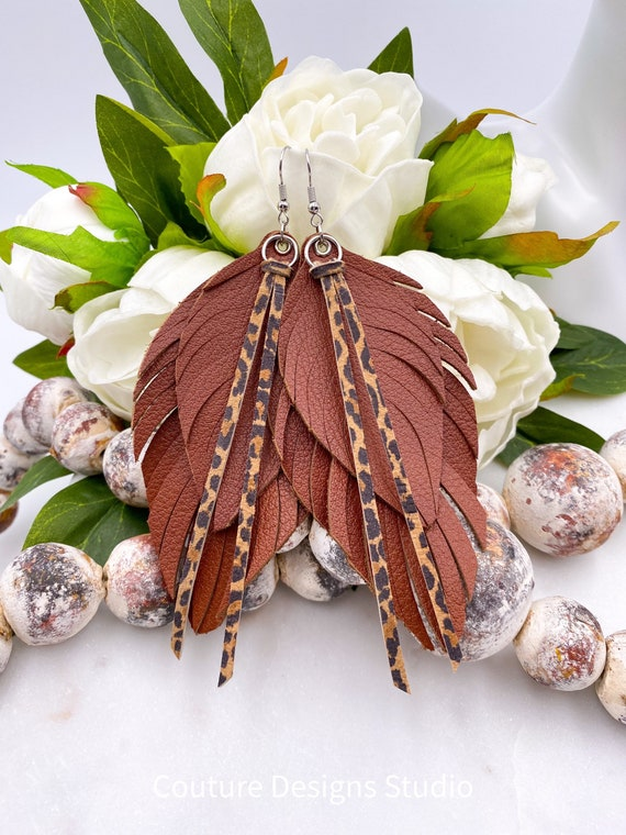 Boho Brown Leather Feather Earrings - Brown, Leather Feather, Cheetah Print Leather, Leather Fringe, Layered Leather, 4.5 Inches