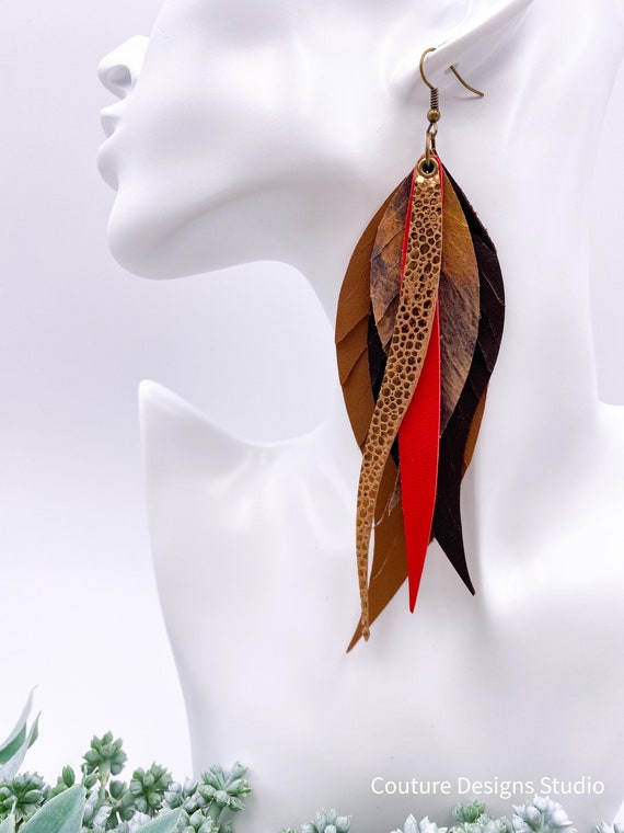 Pheasant Leather Feather Earrings, Leather Feather, Camel, Brown, Red, Boho Leather, Leather Fringe, Copper Metallic