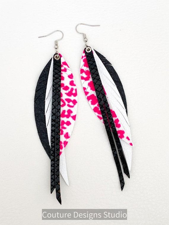 Neon Pink Leather Feather Earrings, Leopard Leather Feather Earrings, Leather Fringe Earrings, Boho Earrings, Cheetah Leather Earrings