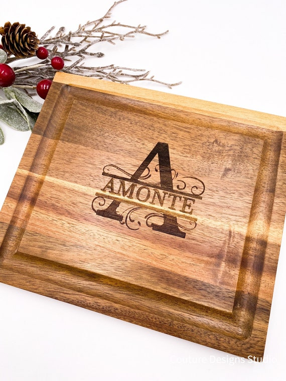 Personalized Engraved Cutting Board - Split Letter Monogram, Wedding Gift, Anniversary Gift, Engagement Gift, Acacia Wood Cutting Board
