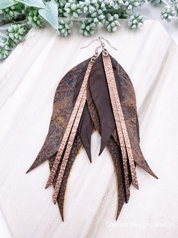 Distressed Leather Feather Earrings, Leather Feather, Chocolate Brown, Aged Crocodile, Boho Leather, Leather Fringe, Mocha Metallic