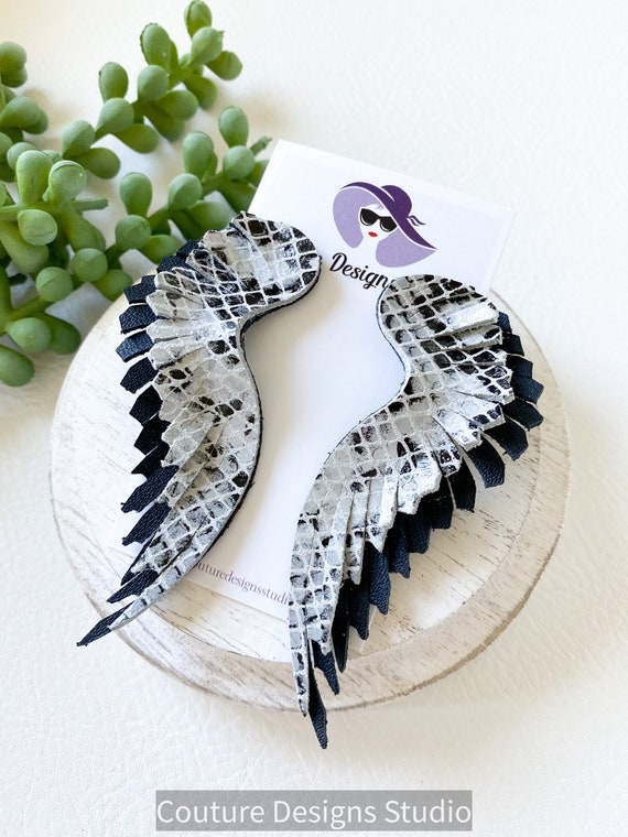 Black Feather Leather Earrings - Fringed Leather Earrings - Black and White Leather Wing Earrings - Snakeskin Angel Wing Earrings