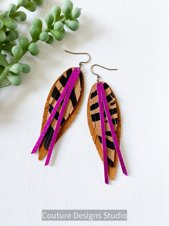 Brown and Magenta Tiger Stripe Leather Feather Earrings, Boho Leather Feather Earrings, Feather Leather Earrings, Summer Feather Earrings