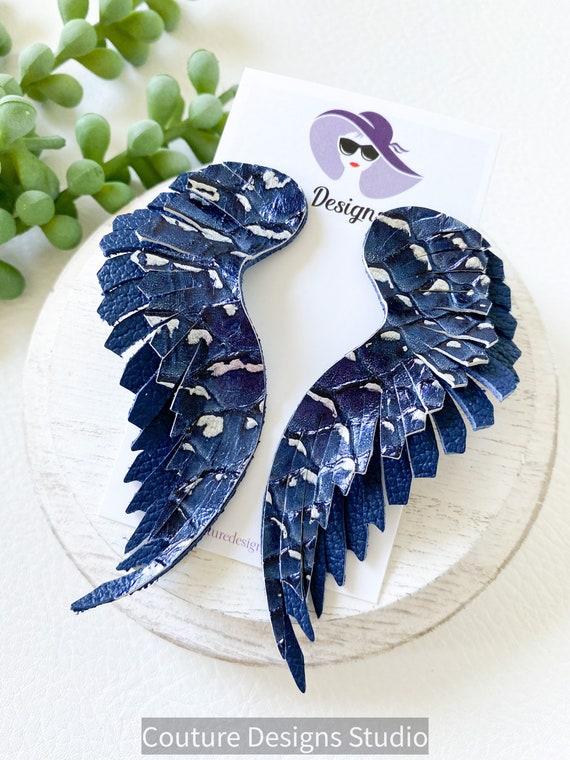 Navy Blue Leather Wing Earrings - Fringed Feather Leather Earrings - Navy and Silver Leather Wing Earrings - Croc Angel Wing Earrings