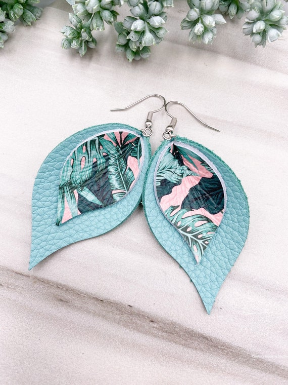Tropical Pinched Petal Leather Earrings - Pinched Leather Earrings, Pink Leather Earrings, Aqua Leather Earrings