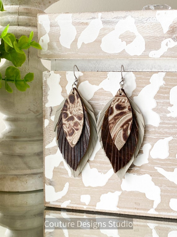 Western Leather Feather Earrings, Brown Feather Earrings, Riviera Embossed Leather Earrings, Boho Earrings, Beige Feather Earrings