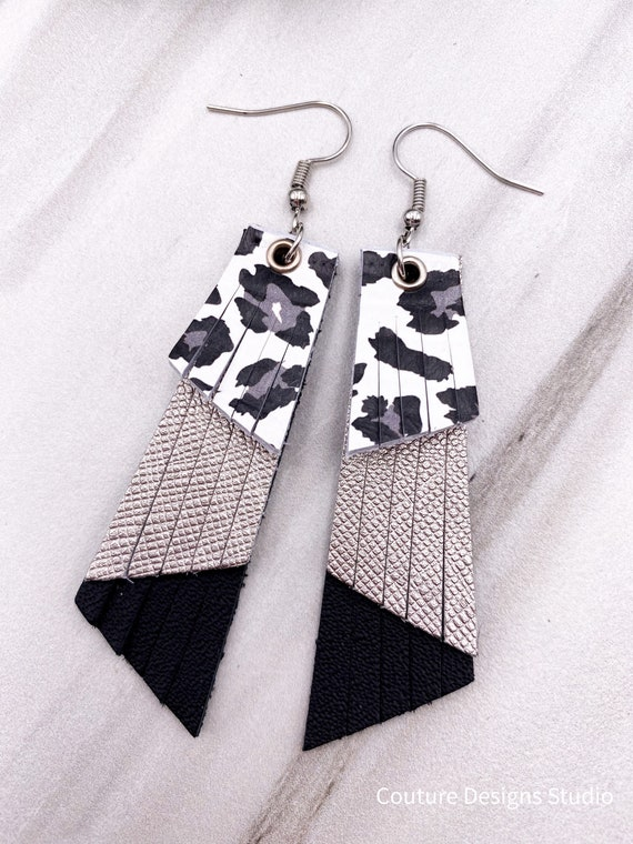 Leopard Print Fringe Earrings - Black and White Leather Fringe, Genuine Leather Earrings, Black and Silver Leather Earrings