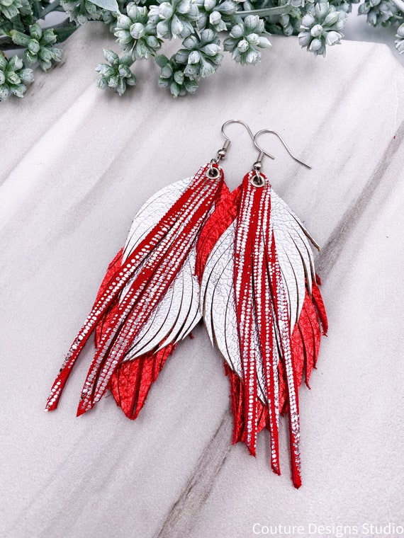 Silver & Red Leather Feather Earrings, Genuine Leather, Red Metallic Leather, Feather and Fringe Earrings, Silver Leather Feathers