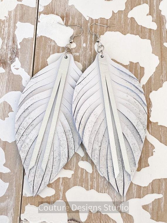 Glitter Ombre Leather Feather Earrings - Boho Leather Earrings, White Leather Feather Earrings, Leather Fringe Earrings, 4.5 Inches