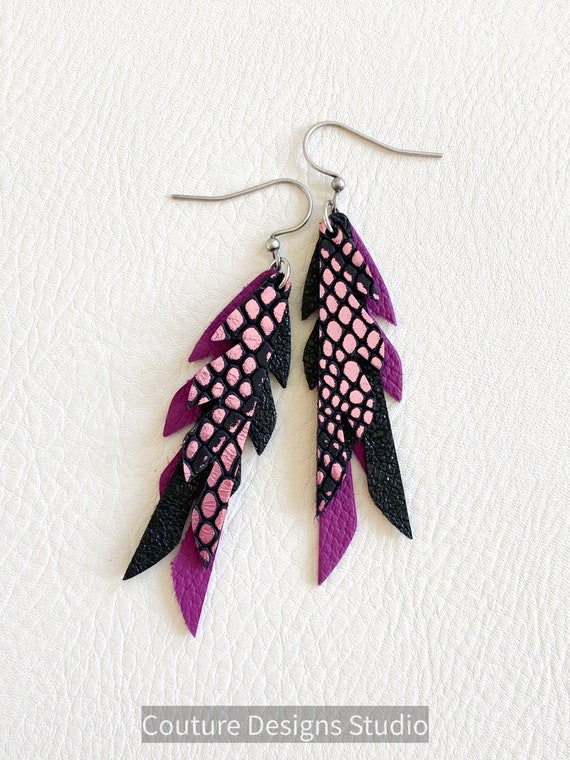 Black Raspberry Leather Feather Earrings, Feather Leather Earrings, Mini Feather Earrings, Boho Earrings, Small Leather Feathers