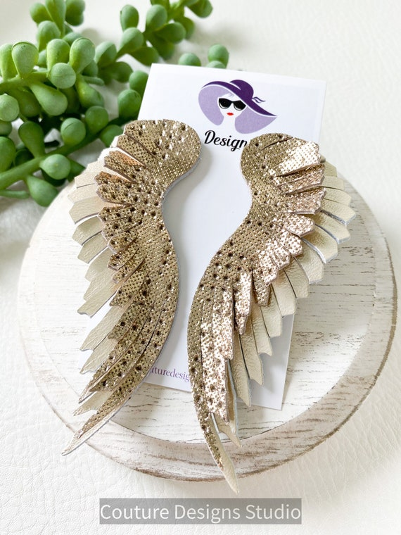 Platinum Feather Leather Earrings - Fringed Leather Earrings - Light Gold Leather Wing Earrings - Champagne Angel Wing Earrings
