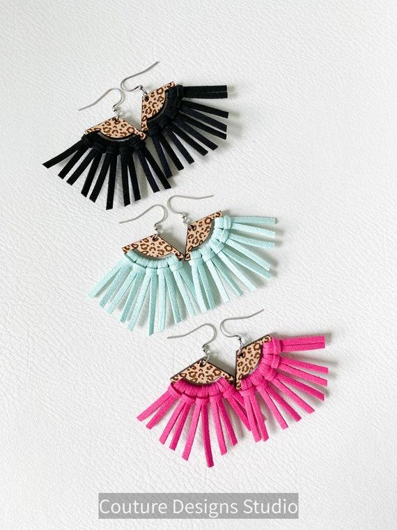 Spotted Leopard Black Fringe Earrings, Mint Green Earrings, Boho Earrings, Wood and Fringe Earrings, Fuchsia Tassel Earrings