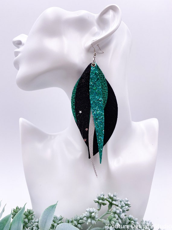 Emerald Green Layered Leather Glitter Earrings - Black and Silver Faux Faux Leather Feathers, Big Feather Earrings, Long Feather Earrings