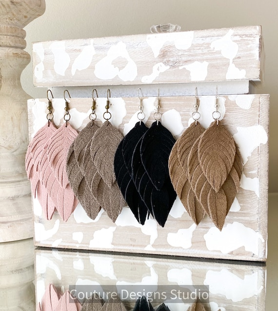 Suede Leather Feather Earrings - Boho Leather Earrings, Leather Fringe Earrings, Suede Feather Earrings, Genuine Leather Earrings