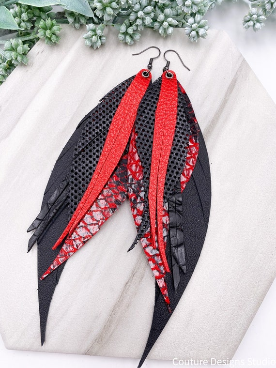 Black & Red Leather Feather Earrings, Genuine Leather, Red Metallic Leather, Feather and Fringe Earrings, Snakeskin Leather Feathers