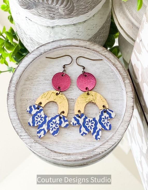 Blue and White Leather Earrings - Cork Geometric Earrings, Metallic Leather Earrings, Turkish Tile Leather Earrings, Boho Earrings
