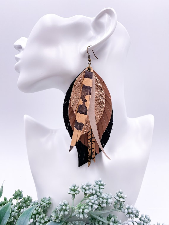 Leather Feather Earrings - Layered Leather Feather Earrings, Black and Mauve Leather Earrings, Layered Leather Feather Earrings