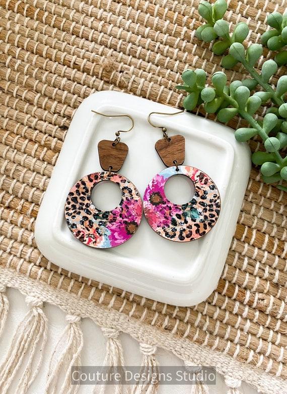 Boho Cheetah Floral Circle Earrings - Botanical Leopard Wood Earrings, Safari Retro Hoop Wood Earrings - Round Wood Earrings