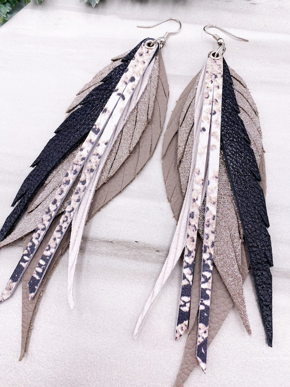 Snakeskin Leather Feather Earrings - Taupe Leather Earrings, Black and Beige Long Feather Earrings, Genuine Leather Feather Earrings