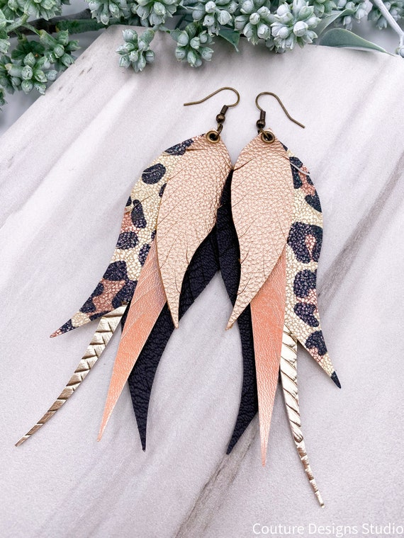 Black and Peach Leopard Feather Earrings - Faux Leather, Gold, Leopard, Large, Black, Layered Feather, Blush
