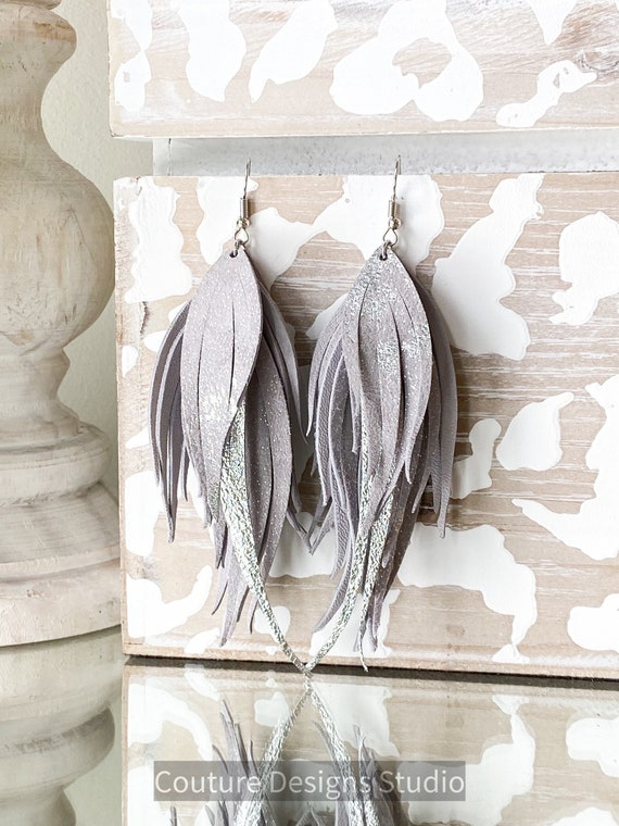 Gray Sparkle Leather Earrings, Fringed Leather Feather Earrings, Fringe Earrings, Boho Earrings, Pale Gray Leather Earrings