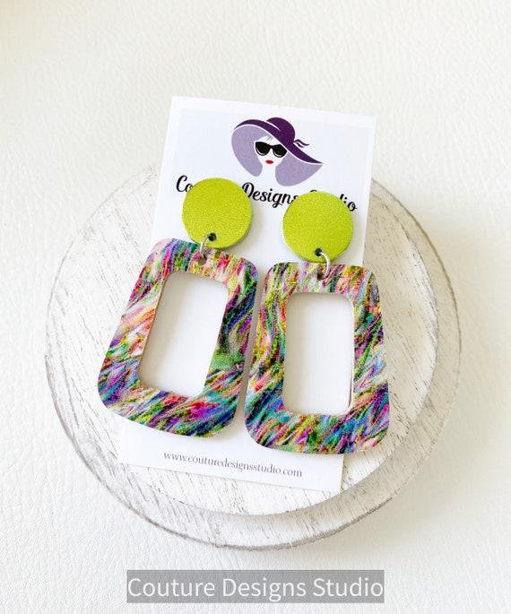 Boho Lime Leather Earrings - Geometric Earrings, Cork Square Earrings, Boho Earrings, Psychedelic Cork Earrings
