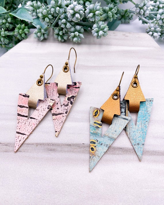 Genuine Triangle Leather Earrings - Mint Triangle Earrings, Pink Wildwood Leather Earrings, Art Deco Leather Earrings, Unique Earrings
