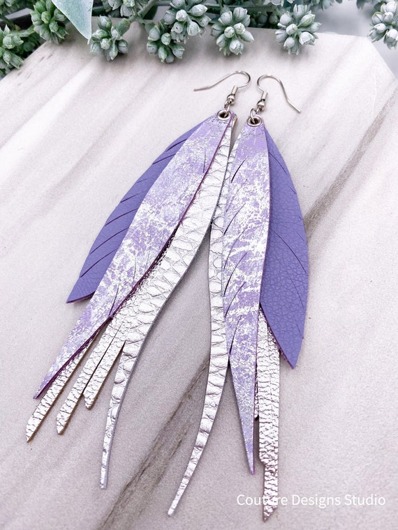 Lilac Leather Feather Fringe Earrings - Silver Leather, Leather Feather, Leather Fringe, Boho Leather, Lavender and Silver
