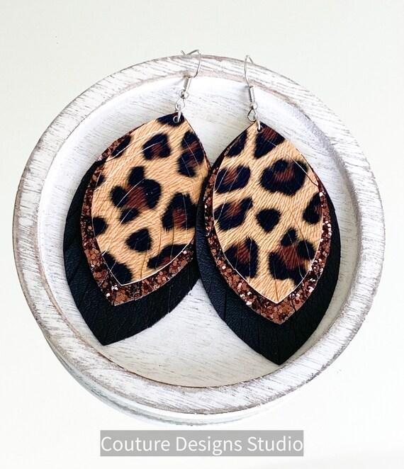 Cheetah Faux Leather Feather Earrings - Leather Feather Earrings, Layered Faux Leather Earrings, Glitter Earrings, Boho Earrings