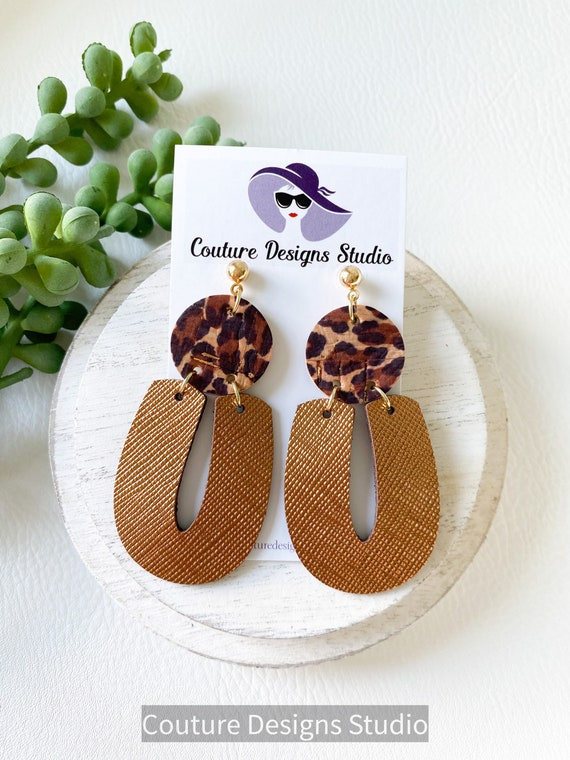 Bronze Cheetah Modern Earrings - Geometric Leather Earrings, Cheetah Leather Earrings, Leather Arch Earrings, Cork Earrings, Boho Earrings