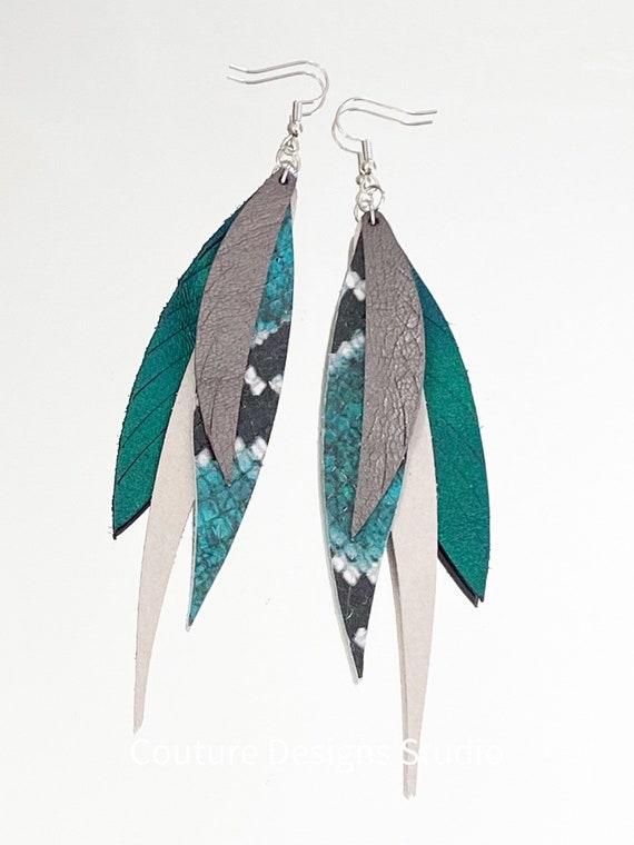 Skinny Snake Leather Feather Earrings - Boho Feather Earrings - Fringed Leather Earrings - Iridescent Leather Feather Earrings