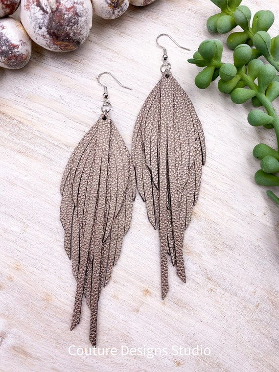 Faux Leather Fringe Feather Earrings - Leather Feather Earrings, Metallic Feather Earrings, Faux Leather Feather Earrings, 4.5 Inches