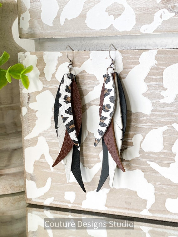 Boho Leopard Leather Feather Earrings - Feather Leather Earrings - Black and Brown Leather Earrings - Leopard Leather Earrings