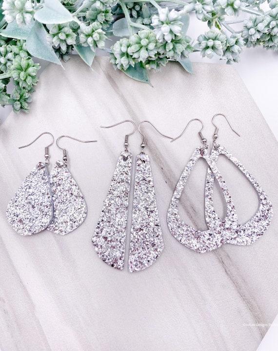 Silver Glitter Leather Earrings - Leather Bar Earrings, Silver Glitter Earrings, Glitter on Leather Earrings, Silver Leather Earrings