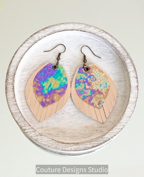 Oil Slick Leather Fringe Earrings, Leather Fringe Earrings, Leather Feather Earrings, Boho Earrings, Boho Leather Earrings, 2.5 Inches