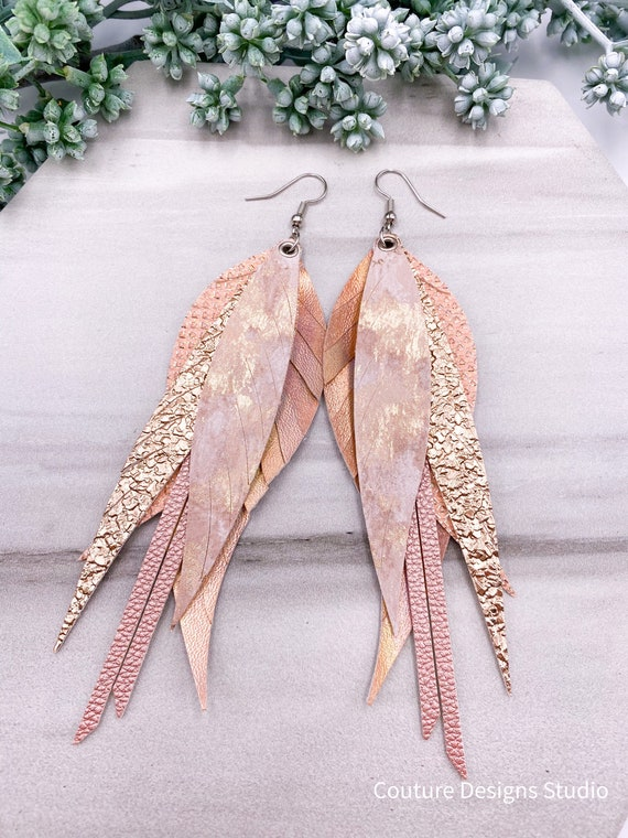 Pink Faux Leather Feather Earrings - Blush Feather Earrings, Large Faux Leather Earrings, Pale Peach Leather Feather Earrings