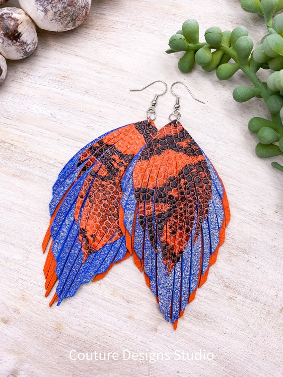 Orange & Blue Leather Feather Earrings - Boho Leather Earrings, Leather Fringe Earrings, Leather Feather Earrings, Genuine Leather Earrings