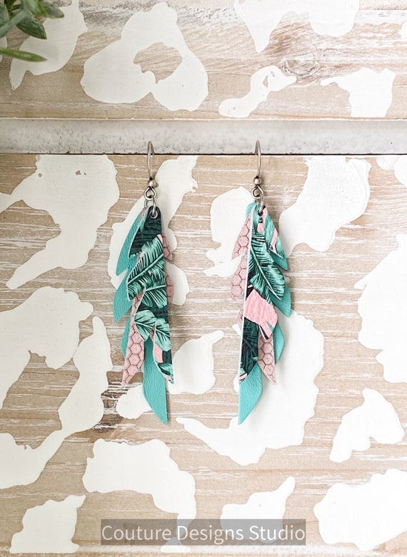 Pink Tropical Leather Feather Earrings, Feather Leather Earrings, Mini Feather Earrings, Boho Earrings, Small Leather Feathers