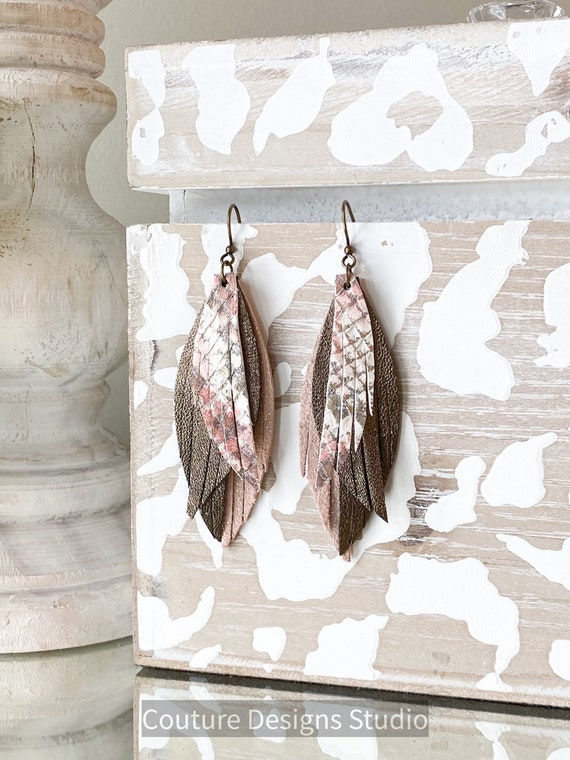 Neutral Leather Earrings, Metallic Leather Feather Earrings, Blush Leather Earrings, Boho Earrings, Rose Pink Leather Earrings
