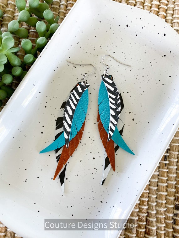Boho Turquoise Leather Feather Earrings - Fringed Leather Feather Earrings - Black and White Leather Earrings - Feather Leather Earrings