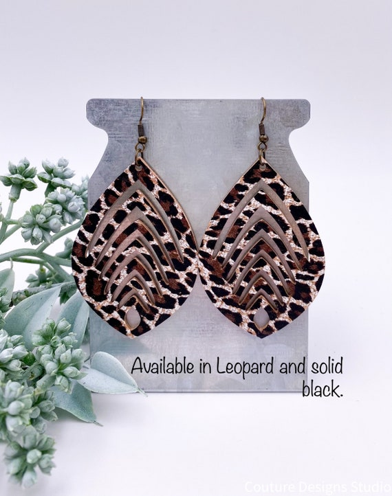 Leather Sliced Teardrop Earrings - Leopard Leather, Black Leather Earrings, Leather Earrings, Cork Earrings, 3 Inches Long