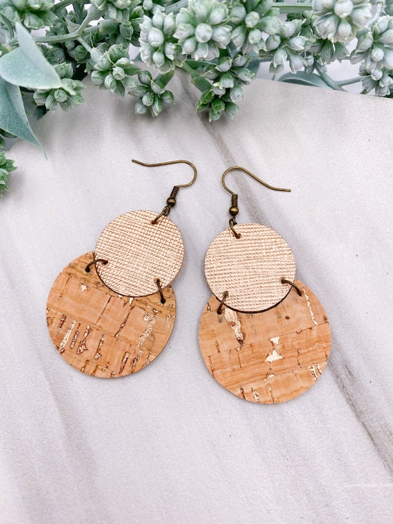 Rose Gold Circle Earrings - Cork on Leather Earrings, Leather Earrings, Saffiano Leather Earrings, Cork Circle Earrings