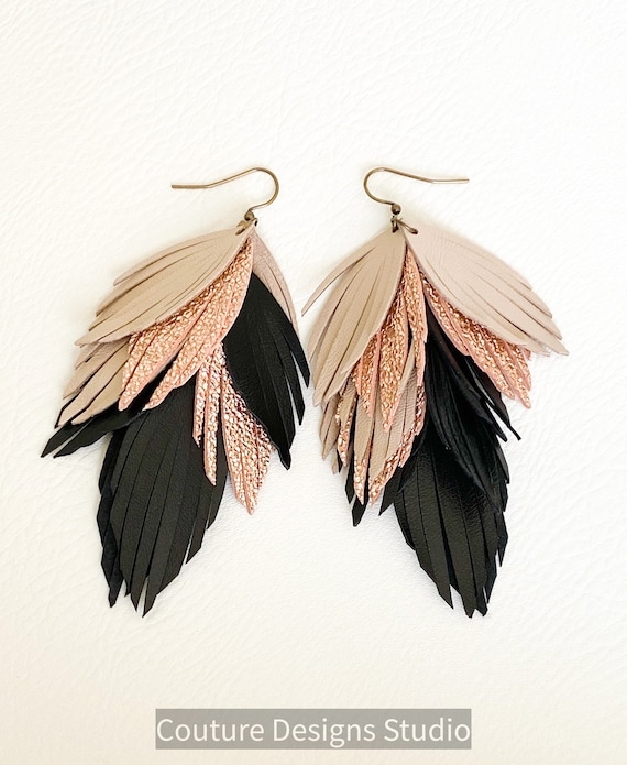 Black and Rose Gold Leather Feather Earrings, Fringed Leather Feather Earrings, Layered Leather Earrings, Boho Earrings, Nude Leather