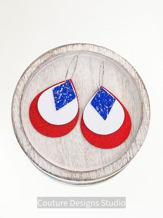 Fourth of July Leather Earrings - Genuine Leather Earrings, Boho Earrings, Hoop Earrings,  4th of July Earrings, Western Earrings