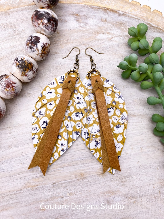 """Mustard Leather Feather Earrings - Leather Feather Earrings, Leather Fringe Earrings, Floral Leather Earrings, Boho Leather Earrings, 4.5"""""""