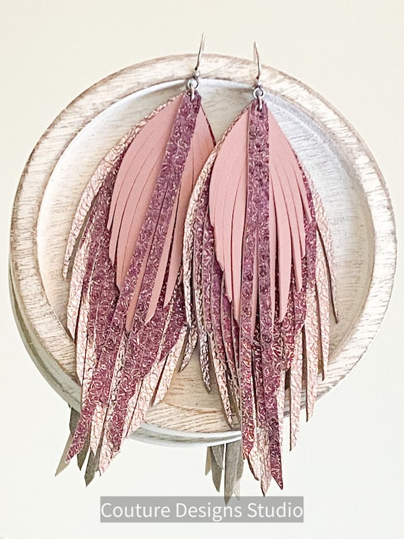 Mauve Metallic Shimmer Leather Feather Earrings - Leather Feathers, Leather Fringe Earrings, Boho Earrings, Long Leather Earrings